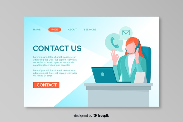 Contattaci modello web della pagina di destinazione