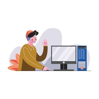 Contattici illustrazione di vettore di concetto di servizio di aiuto di assistenza di cura del cliente