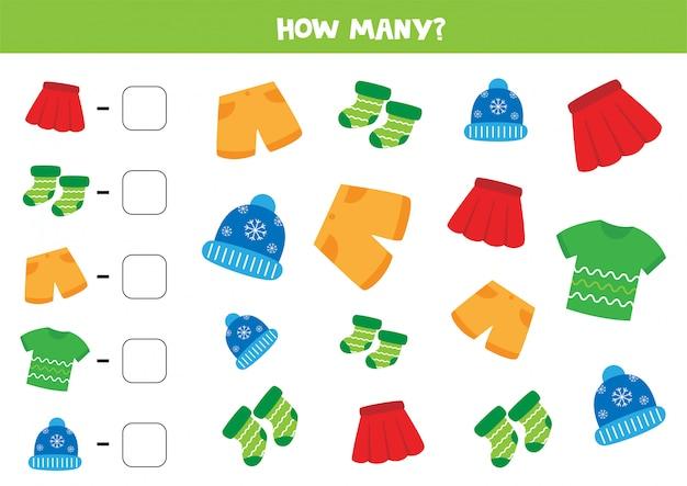 Conteggio del gioco con abiti diversi. conta quante camicie, pantaloncini, gonne, calze e cappellini ci sono.