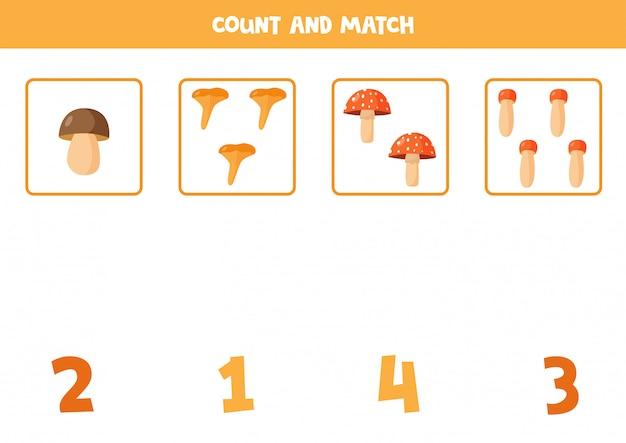 Conteggio del gioco con funghi di bosco dei cartoni animati. foglio di lavoro per la matematica