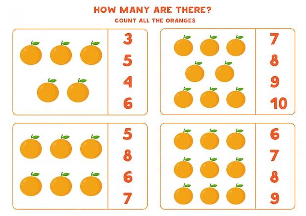 Conteggio del gioco con le arance dei cartoni animati. foglio di lavoro per la matematica.