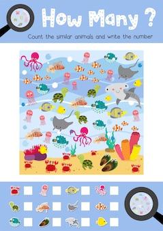Conteggio del gioco di animali dell'oceano