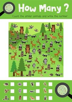 Conteggio del gioco di animali della foresta
