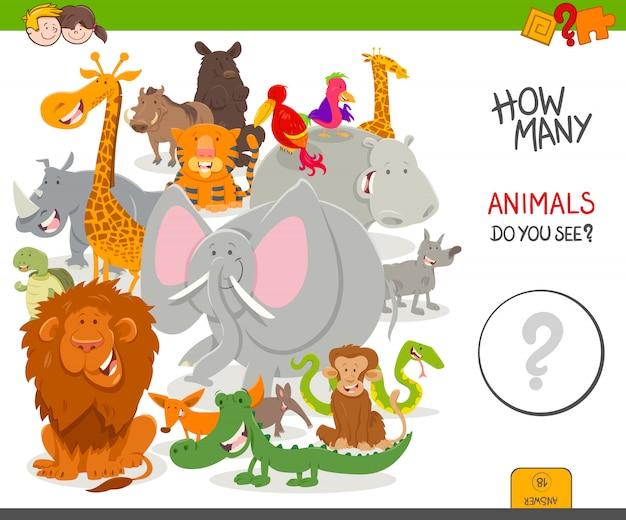 Conteggio del gioco per bambini con animali selvaggi