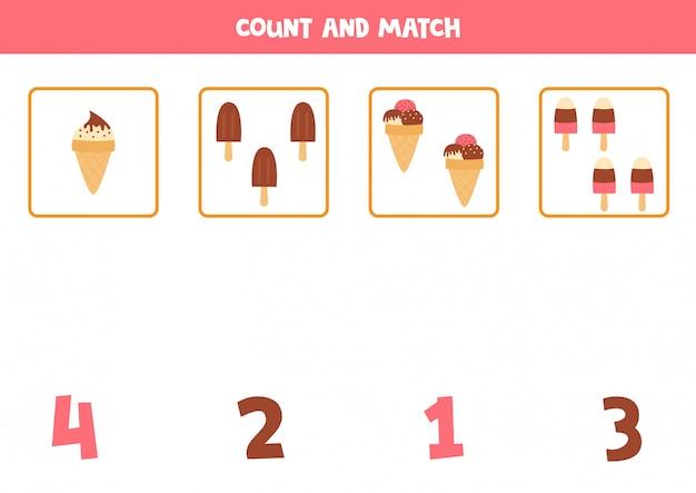 Conteggio del gioco per bambini. gelati simpatico cartone animato. abbina oggetti e numeri.