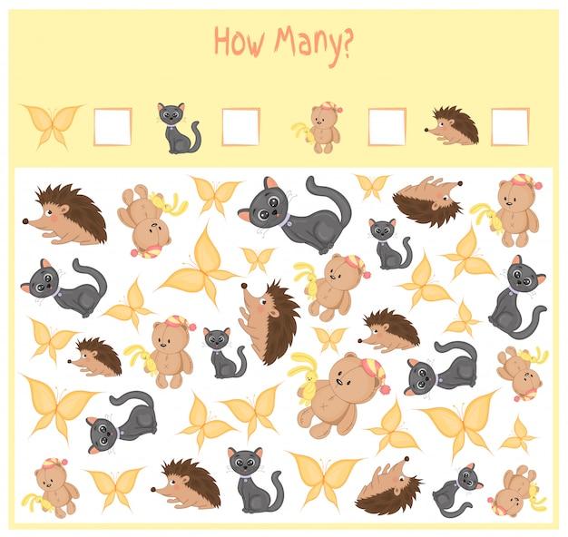 Conteggio del gioco per bambini in età prescolare. conta quanti oggetti e scrivi il risultato.