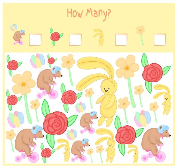 Conteggio del gioco per bambini in età prescolare. un gioco educativo matematico. conta quanti elementi e scrivi il risultato. animali selvatici e domestici. natura.