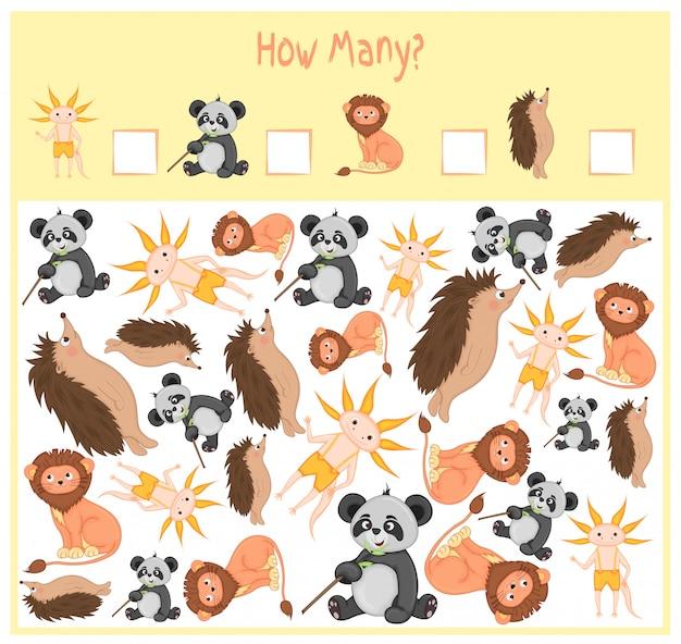Conteggio del gioco per bambini in età prescolare. un gioco educativo matematico. conta quanti oggetti e scrivi il risultato. animali selvatici e domestici. natura.