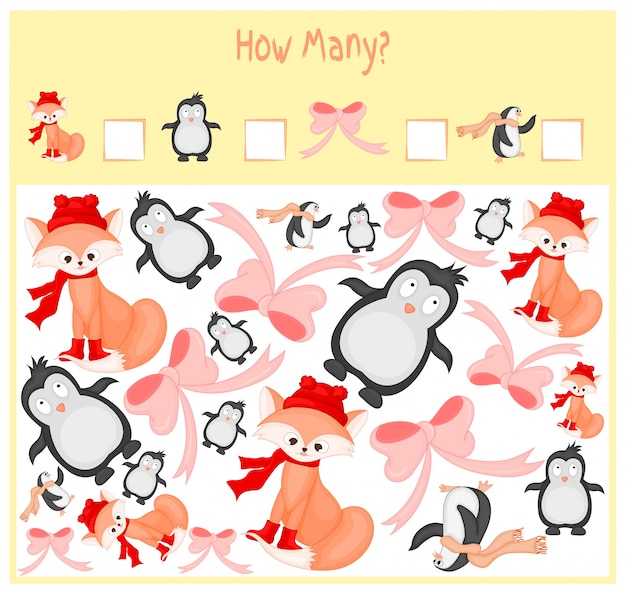 Conteggio del gioco per bambini in età prescolare. un gioco educativo matematico.