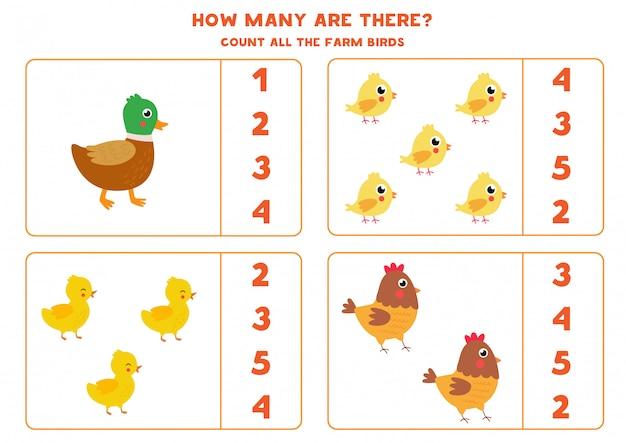 Conteggio del gioco per bambini. simpatici uccelli da fattoria in cartone.