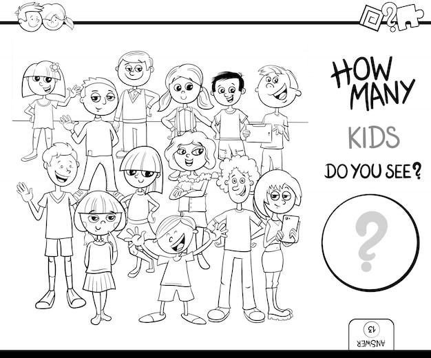 Conteggio del libro a colori per attività educative per bambini