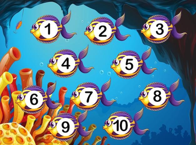 Conteggio del numero di pesci sott'acqua