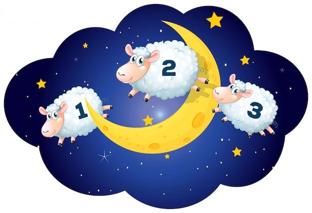 Conteggio delle pecore di notte su bianco