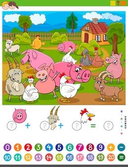 Conteggio e aggiunta di attività con animali da fattoria dei cartoni animati