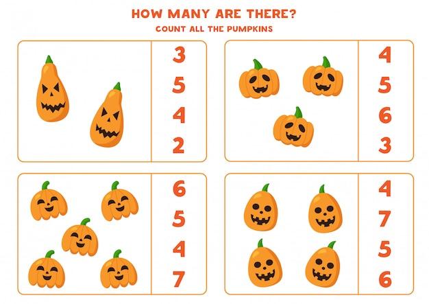 Conteggio zucca di halloween jack o lantern. gioco di matematica.