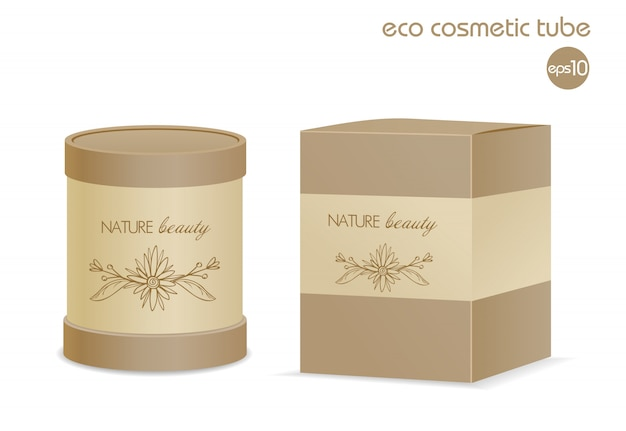 Contenitore cosmetico eco marrone e pacchetto di carta