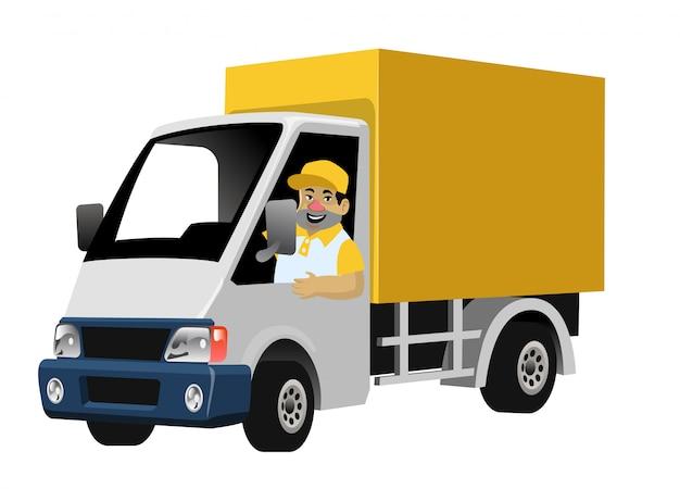 Contenitore di camion di consegna guida lavoratore felice