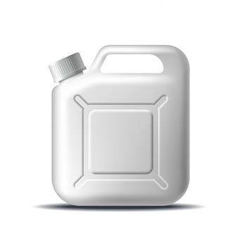Contenitore di plastica bianco per la conservazione di olio, detergente, sapone liquido, latte o succo isolato.