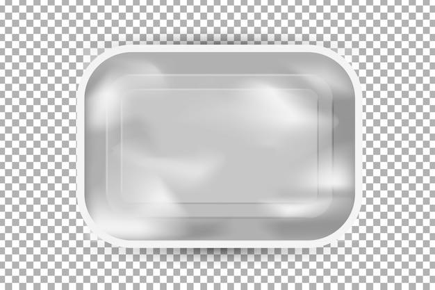 Contenitore di plastica realistico per il cibo sullo sfondo trasparente.