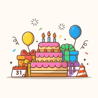 Contenitore di regali con l'illustrazione del partito della torta di compleanno