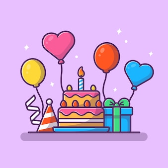 Contenitore di regali con l'illustrazione di vettore del partito della torta di compleanno.