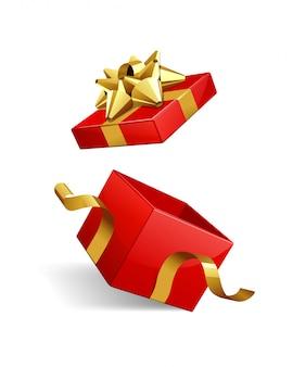 Contenitore di regalo aperto con l'arco e il nastro dell'oro isolati sull'illustrazione bianca.
