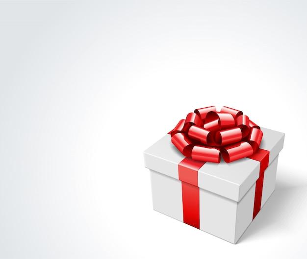 Contenitore di regalo con l'arco rosso e nastro isolato su bianco con l'illustrazione