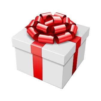 Contenitore di regalo con l'arco rosso e nastro isolato sull'illustrazione bianca