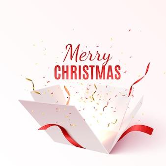 Contenitore di regalo di vettore con nastro rosso e fiocco. banner di buon natale e felice anno nuovo