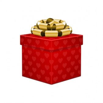 Contenitore di regalo rosso del cuore con l'arco dorato isolato sull'illustrazione bianca di vettore del fondo