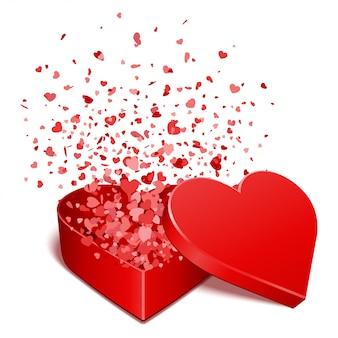 Contenitore di regalo rosso di forma del cuore dall'illustrazione di seta di san valentino del nastro su bianco