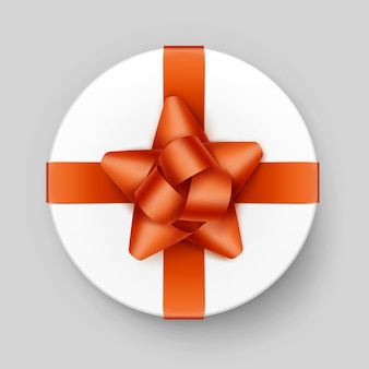 Contenitore di regalo rotondo bianco di vettore con fiocco arancione lucido e nastro