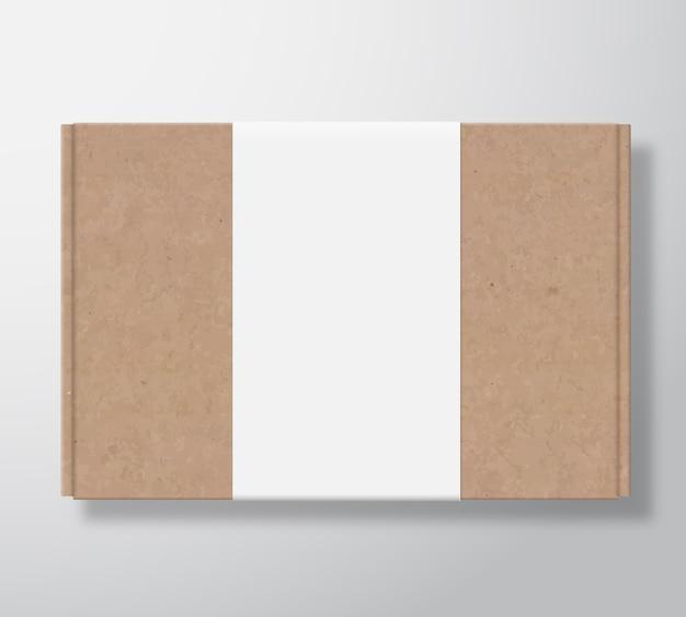 Contenitore di scatola di cartone artigianale con modello di etichetta bianca trasparente.