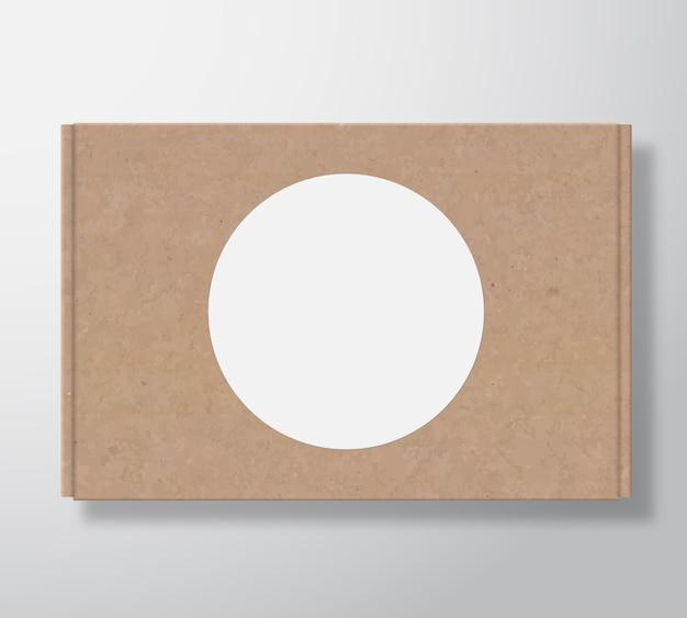Contenitore di scatola di cartone artigianale con modello di etichetta rotonda bianca trasparente.