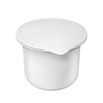 Contenitore in plastica bianco vuoto realistico per yogurt. illustrazione isolata