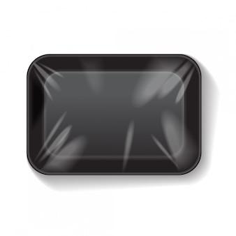 Contenitore per alimenti in plastica in polistirolo bianco con rettangolo nero. modello di vettore mock up