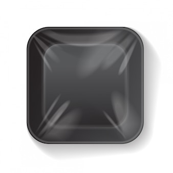 Contenitore per alimenti in plastica in polistirolo bianco quadrato nero. modello di vettore mock up