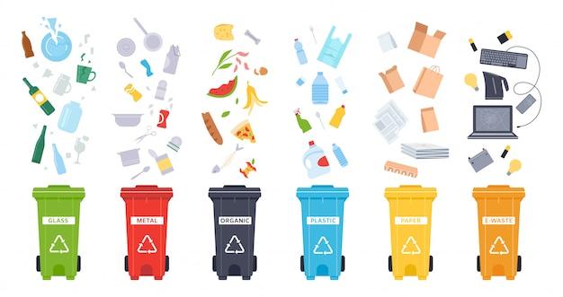 Contenitori dell'immondizia. contenitori per rifiuti organici, rifiuti elettronici, plastica, carta, vetro e metallo. riciclaggio dell'immondizia per salvare l'insieme dell'illustrazione dell'ambiente. smistamento dei rifiuti. bidoni della spazzatura su fondo bianco