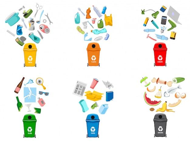 Contenitori dell'immondizia e tipi di rifiuti