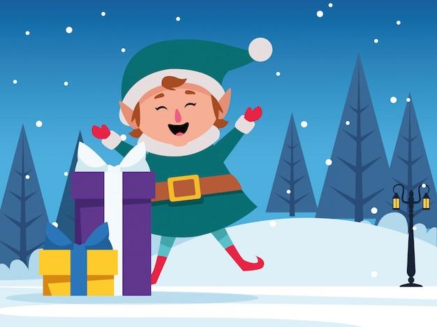 Contenitori di regali e aiutante felice delle santa durante la notte nevosa, variopinta, illustrazione