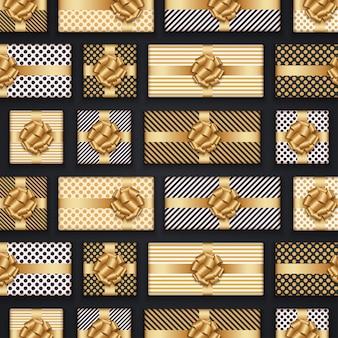 Contenitori di regalo dorati per natale, composizione nel modello