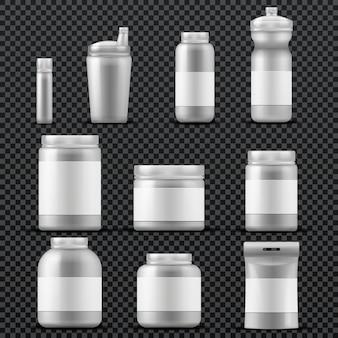 Contenitori in plastica per vasetti sportivi per bevande e polvere. modelli vettoriali isolati. imballaggio nutrizione sportiva, contenitore con supplemento sportivo per illustrazione bodybuilding