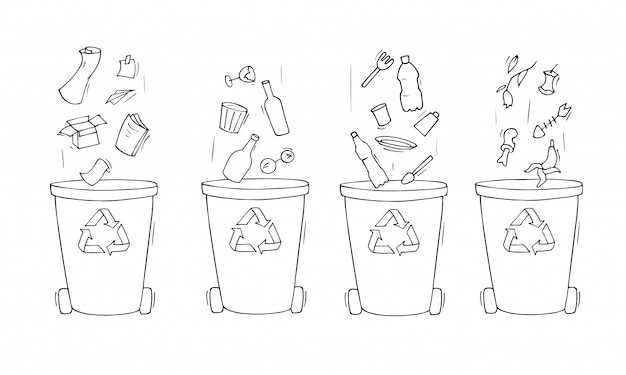Contenitori per immondizia di diversi tipi.