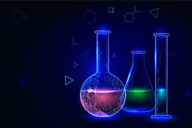 Contenitori per lo sfondo del laboratorio di chimica