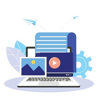 Contenuti coinvolgenti, blog, pianificazione dei media, promozione nel concetto di social media.