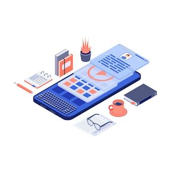 Contenuti di marketing mobile e illustrazione isometrica di vettore di copywriting