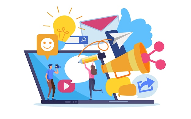 Contenuti di marketing online di social network.