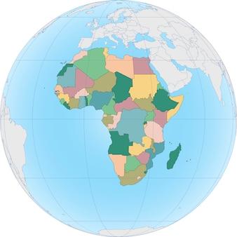 Continente africano sul globo