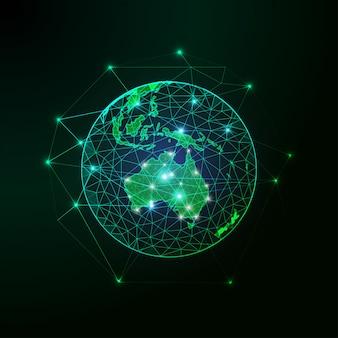 Continente verde futuristico della mappa dell'australia sulla vista del pianeta terra dal fondo dell'estratto dello spazio.