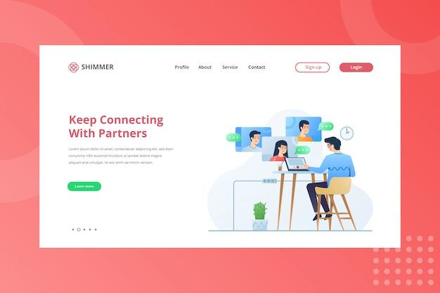 Continua a connetterti con l'illustrazione dei partner per il concetto di working from home sulla pagina di destinazione